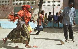 veiled Somali girls play soccer